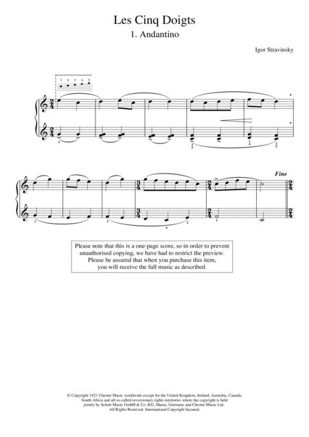 Andantino (No. 1 From Les Cinq Doigts)
