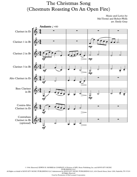 The Christmas Song (Chestnuts Roasting On An Open Fire) - Clarinet Choir