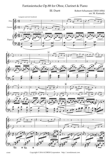 Fantasiestucke Op.88 III Duett for Oboe, Clarinet & Piano