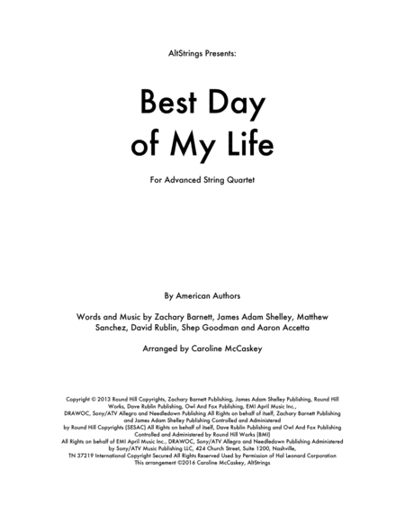 Best Day Of My Life - String Quartet