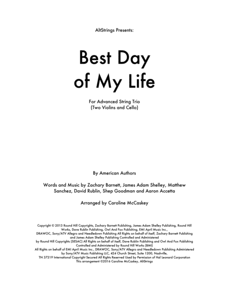 Best Day Of My Life - String Trio (Two Violins and Cello)