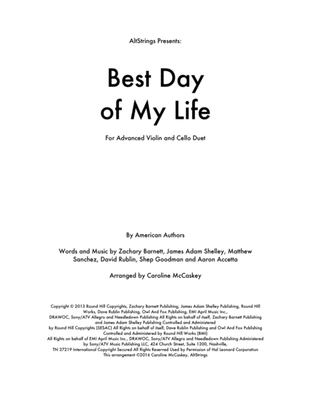 Best Day Of My Life - Violin and Cello Duet