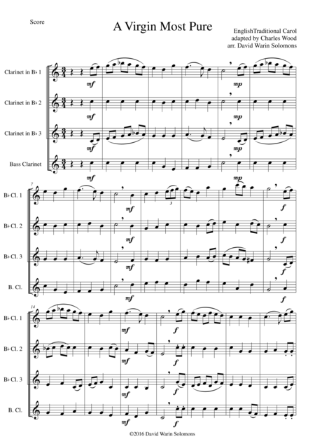 A Virgin Most Pure for clarinet quartet (3 B flats and 1 bass)