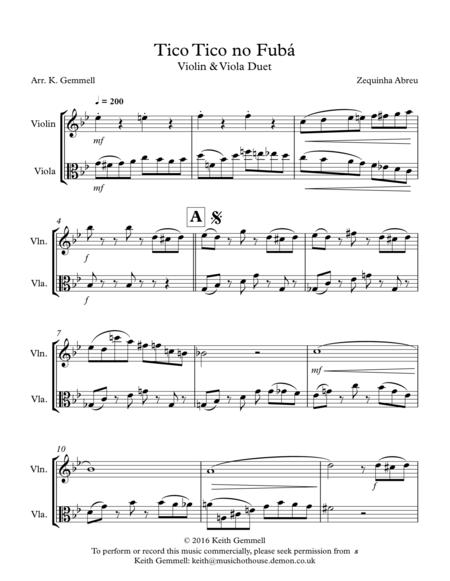 Tico Tico no Fuba: Violin & Viola Duet