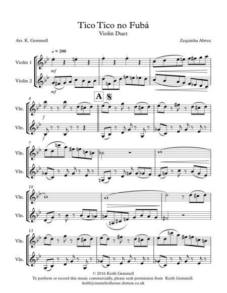 Tico Tico no Fuba: Violin Duet