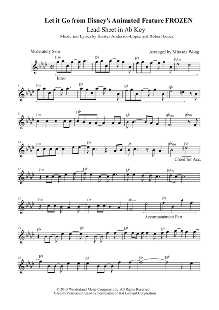 Let It Go (from Frozen) - Violin Solo in Published Ab Key (With Chords)