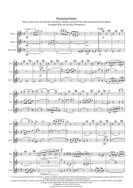 Download Gershwin: Summertime - Flute Trio Sheet Music By George ...