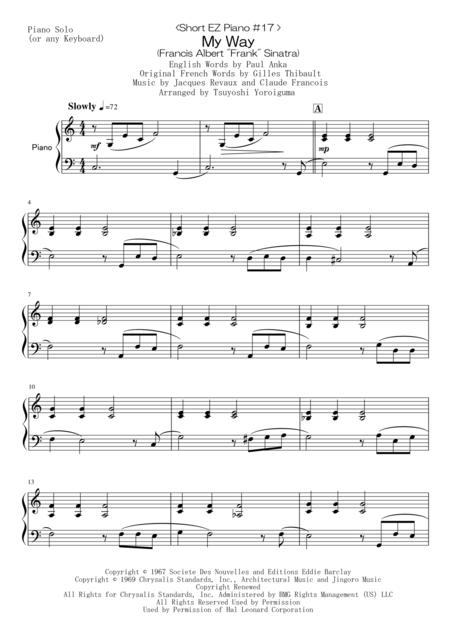 < Short EZ Piano #17 > My Way (Francis Albert