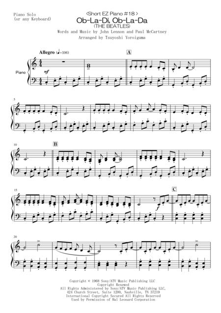 <Short EZ Piano #18 > Ob-La-Di, Ob-La-Da (THE BEATLES)