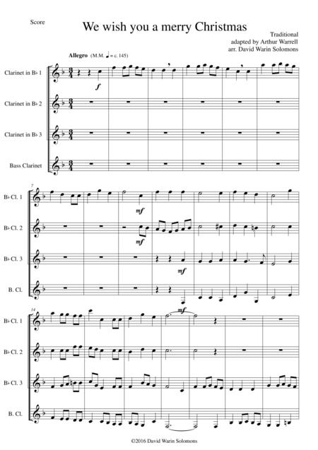 We wish you a merry Christmas for clarinet quartet (3 B flats, 1 Bass)
