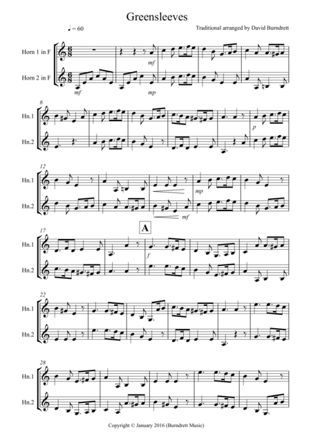 Greensleeves for French Horn Duet