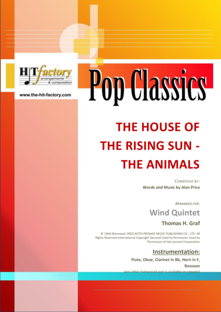 The house of the rising sun - The Animals - 1964 - Wind Quintet