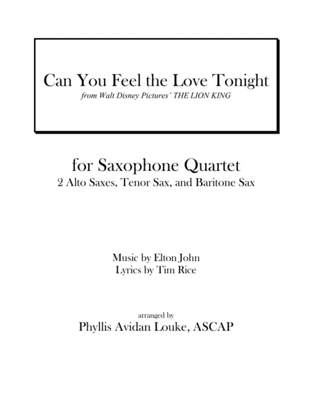 Can You Feel The Love Tonight by Elton John for SAX QUARTET