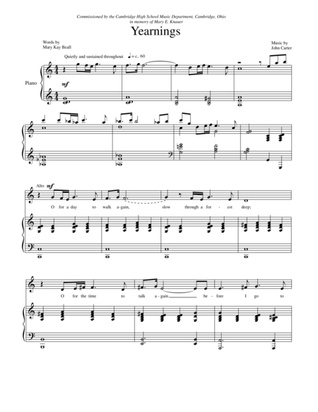 Yearnings- SATB with piano
