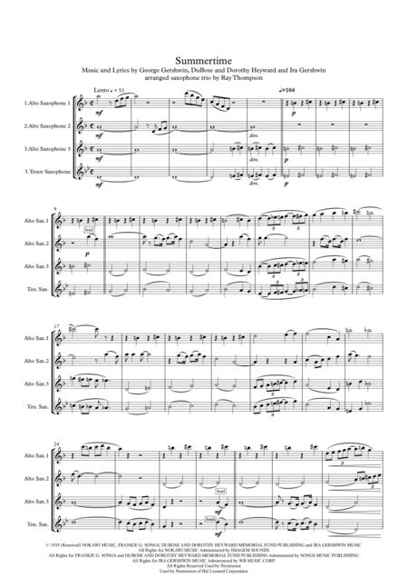Gershwin: Summertime - saxophone trio (2 altos and tenor)