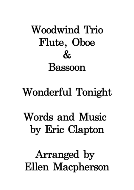Wonderful Tonight / Woodwind Trio /  Eric Clapton