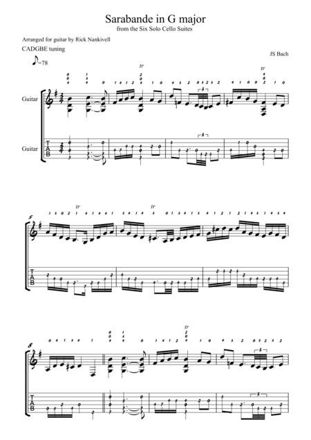 Sarabande in G major BWV 1007