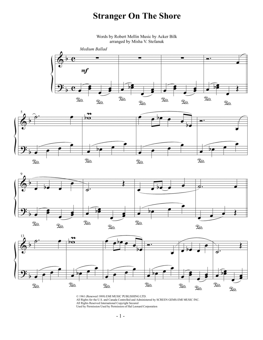 stranger on the shore sheet music pdf