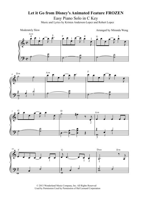 Let It Go (from Frozen) - Easy Piano Solo in C Key