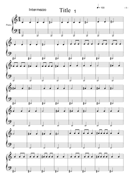 INTERMEZZO  1 FOR PIANO