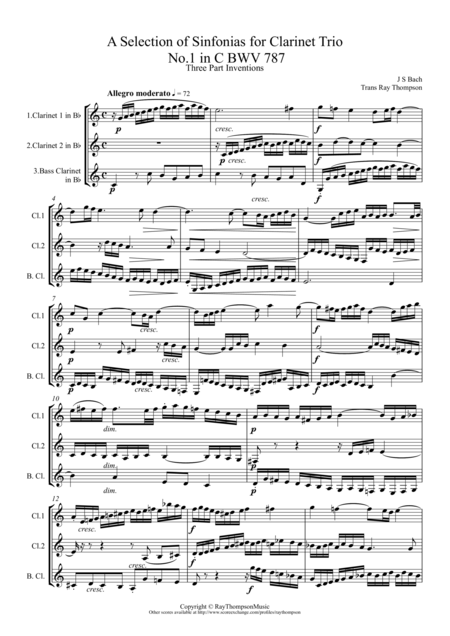 Bach: A Selection of Sinfonias (Three part Inventions Nos.1,2,4,6,8,9 & 11.) - Clarinet Trio