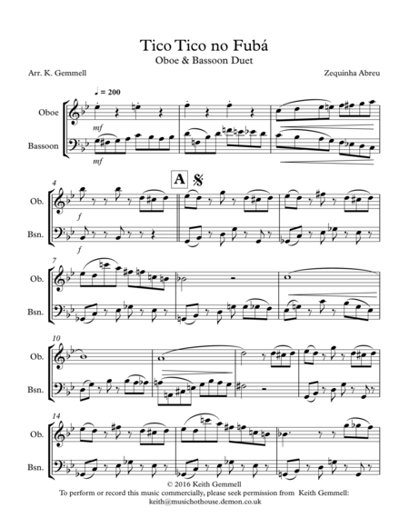 Tico Tico no Fuba: Oboe & Bassoon Duet