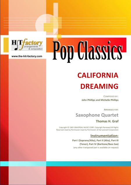 California Dreaming - Beach Boys, Mamas & the Papas - Saxophone Quartet