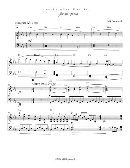 Heartbroken Warrior (Piano Score)