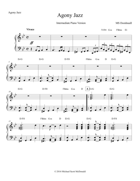 Agony Jazz (Piano Score)