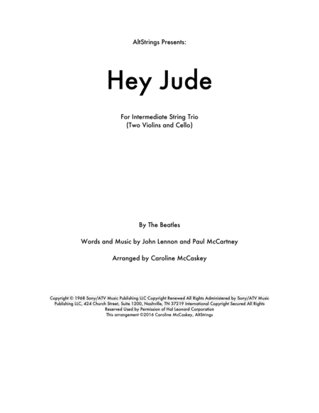 Hey Jude - String Trio (Two Violins and Cello)