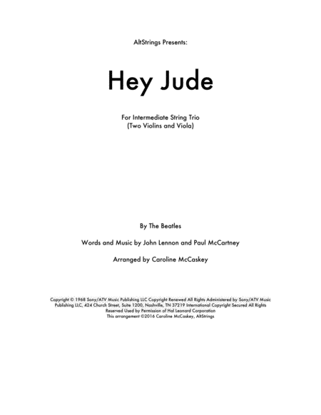 Hey Jude - String Trio (Two Violins and Viola)