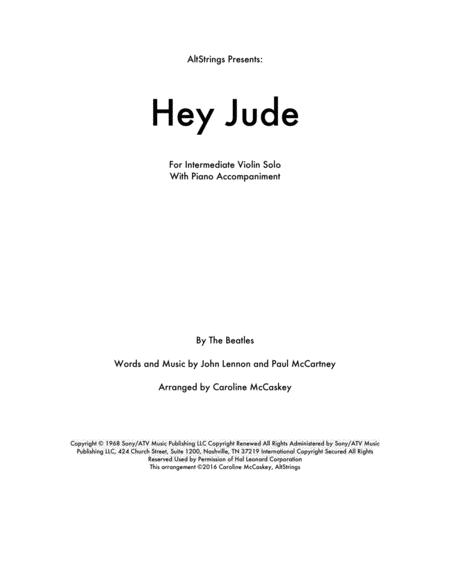 Hey Jude - Violin Solo, Piano Accompaniment