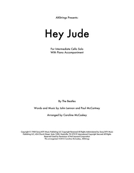 Hey Jude - Cello Solo, Piano Accompaniment