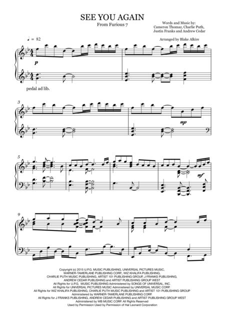 See You Again (Furious 7) - Advanced Piano Solo