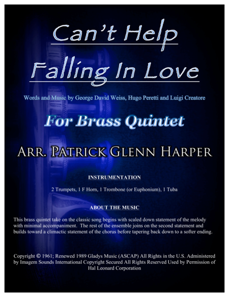 Can't Help Falling In Love - for Brass Quintet