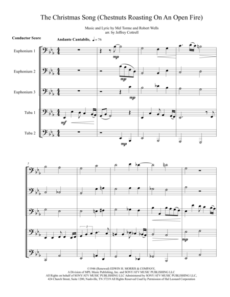 The Christmas Song (Chestnuts Roasting On An Open Fire) for tuba/ euphonium quintet