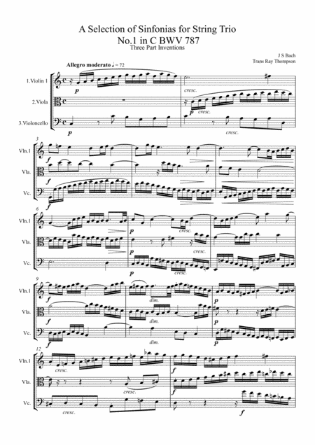 Bach: A Selection of Sinfonias (Three part Inventions Nos.1,2,4,6,8,9 & 11.) -String Trio