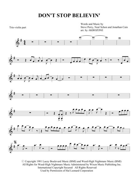 Don't Stop Believin' - Piano Trio violin part