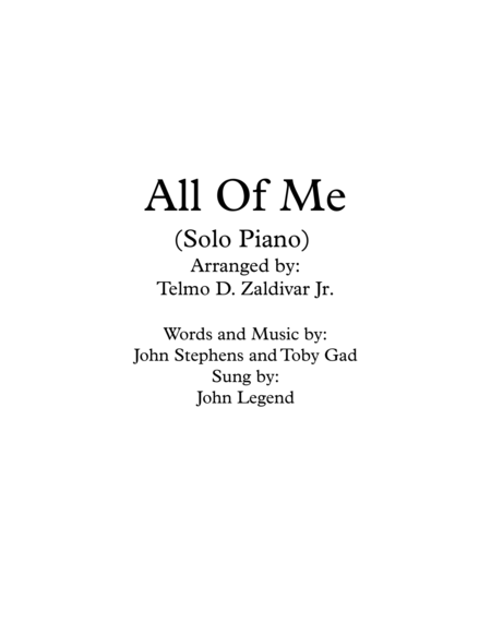 All Of Me (Solo Piano)
