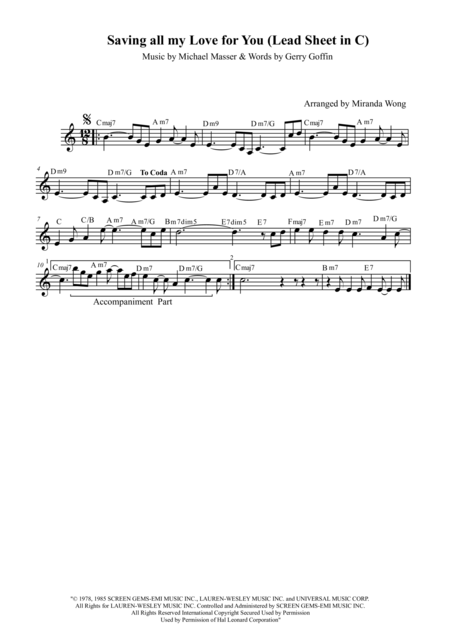 Saving All My Love For You - Lead Sheet in C Key (With Chords)