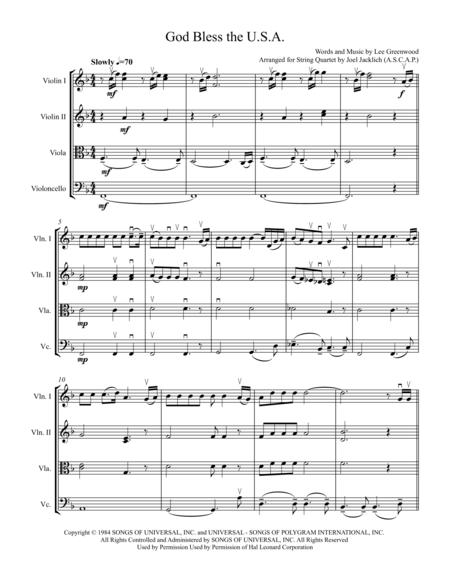 God Bless The U.S.A. (for  String Quartet) 2016 Arranging Contest Entry