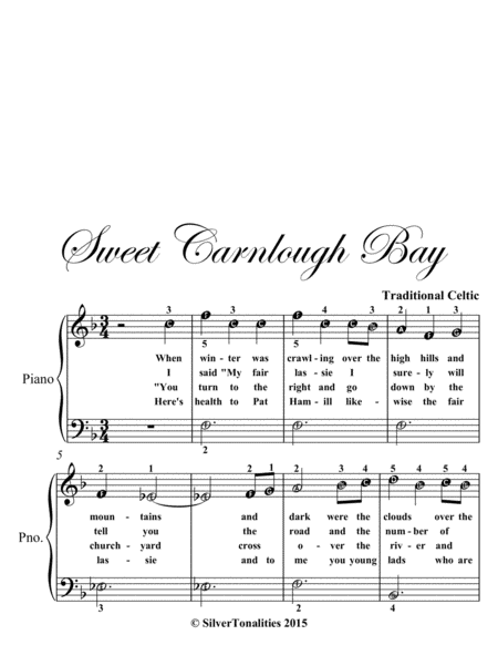 Sweet Carnlough Bay Easiest Piano Sheet Music