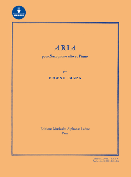 Aria - Pour Saxophone et Piano Avec Carte de Telechargement