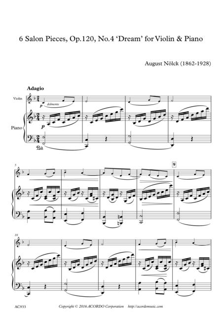 6 Salon Pieces, Op.120, No.4 'Dream' for Violin & Piano