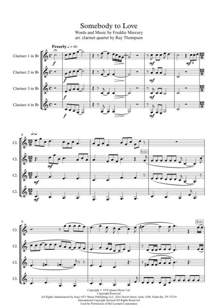 Queen: Somebody To Love - clarinet quartet