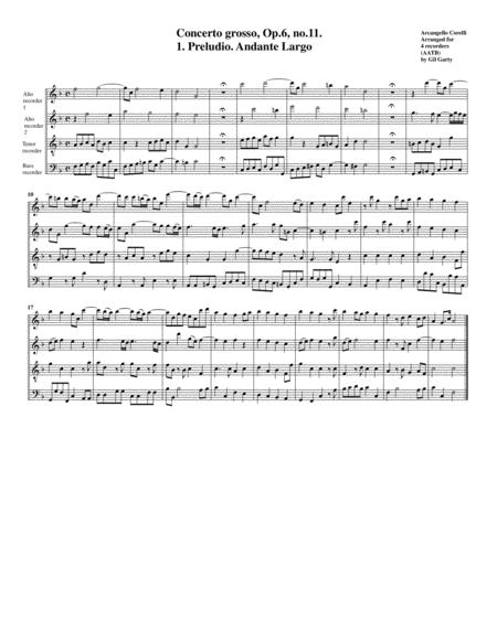 Concerto grosso, Op.6, no.11 (arrangement for 4 recorders)