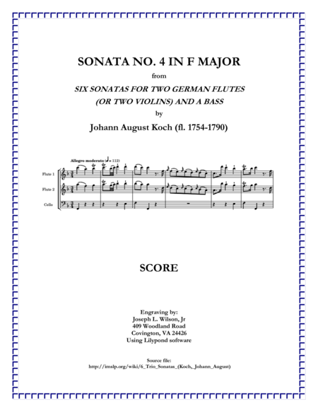 Koch Trio Sonata No. 4 in F Major
