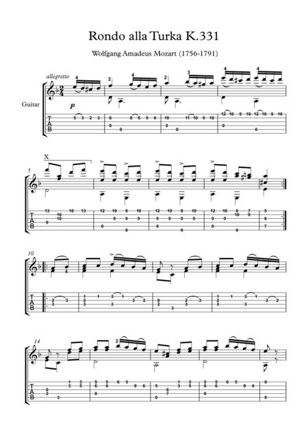 Rondo alla turca classical guitar solo