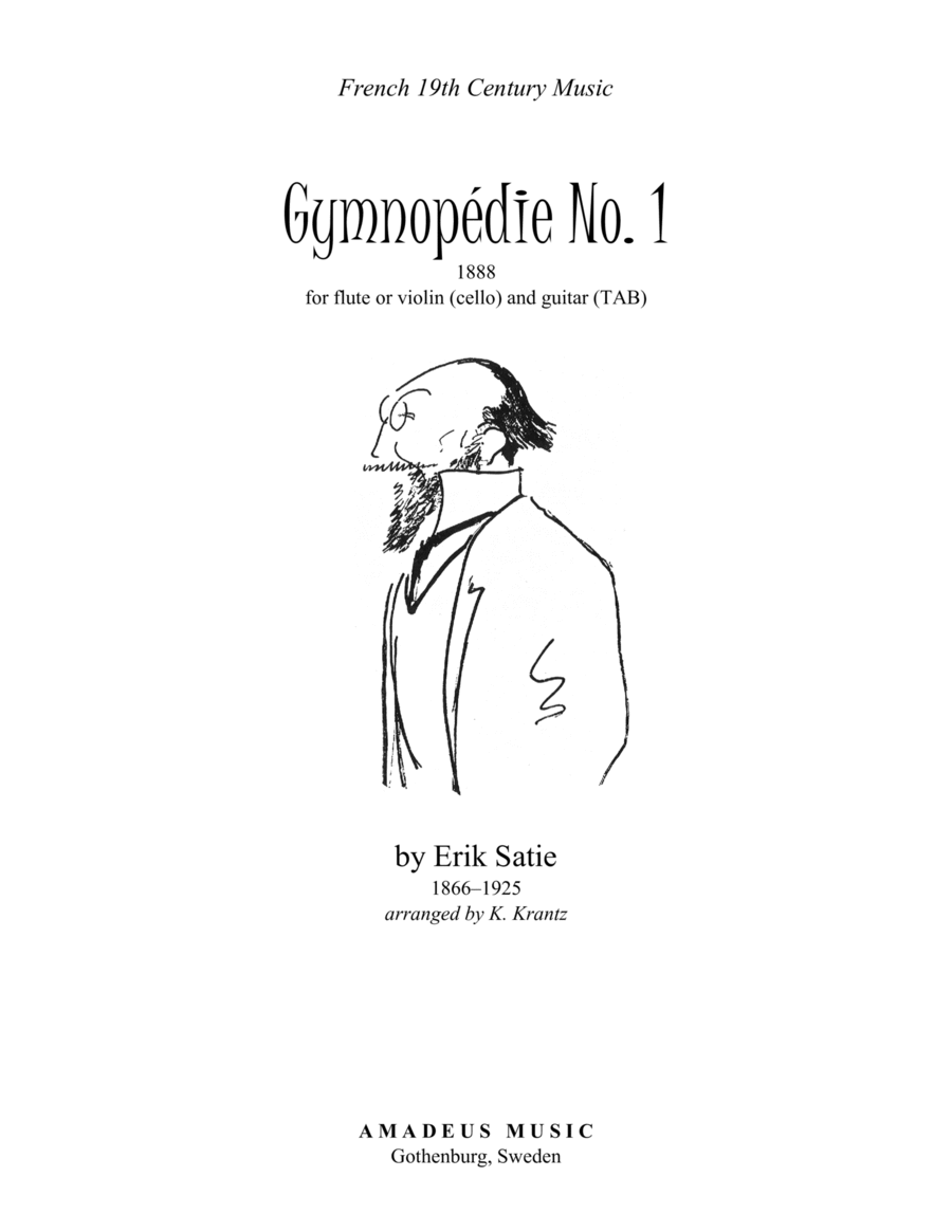 Gymnopedie No. 1 for flute or violin (+cello part) and guitar (+TAB)