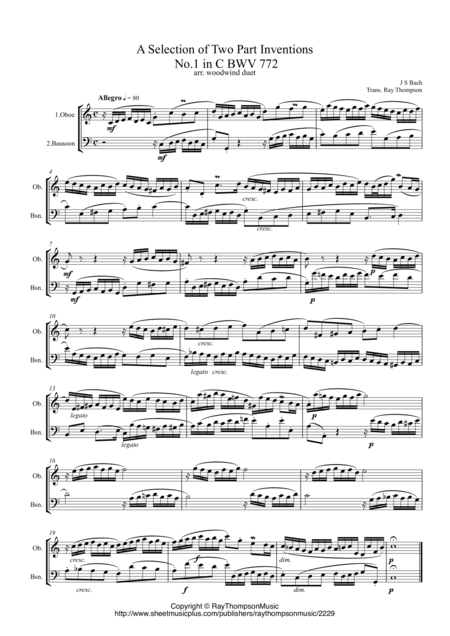 Bach:  A Selection of Inventions (Two Part Inventions nos. 1,3,4,5,6,13 & 15) - wind duet ( oboe, bassoon)